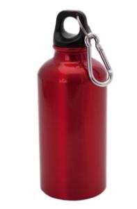 Aluminium bidon met karabijnhaak in kleur rood